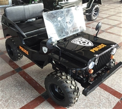 CARB Approved PAZ125-1 Thunderbird 125cc Jeep Go Kart 3 Speed+Reverse w/ Mirrors, Windshield, Spare Tire, Gas Can, Front & Rear Disc Brakes. Free shipping to your door, free helmet and 6 months warranty.