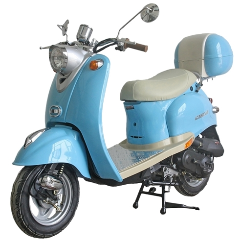 ice bear retro 50 49cc moped scooter w chrome mirrors. Black Bedroom Furniture Sets. Home Design Ideas