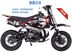 "TAOTAO 110cc Pit Bike Automatic 1 Speed for beginners, Electric Start, Up to 30 mph, 10"" Tires DB10. Free shipping to your door. Free helmet. 6 month warranty. EPA, DOT, CARB Approved for all 50 States."