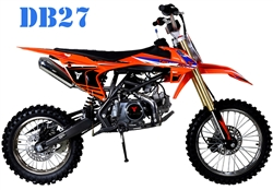 TAOTAO 125cc Premium Dirt Bike 4 Speed Manual, 38 MPH, Dual Disc Brakes, Inverted Forks DB27. Free shipping to your door. Free helmet. 6 month warranty. EPA, DOT, CARB Approved for all 50 States.