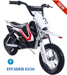 TAO TAO 250 Watt Invader E250 Electric Dirt Bike Automatic 1 speed, 13 mph, Electric Start, Sealed lead acid rechargeable battery, Charger included. Free shipping to your door. Free Motocross helmet. 6 month bumper to bumper warranty.