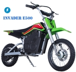 TAO TAO 500 Watt Invader E500 Electric Dirt Bike Automatic 1 speed, 13 mph, Electric Start, Sealed lead acid rechargeable battery, Charger included. Free shipping to your door. Free Motocross helmet. 6 month bumper to bumper warranty.