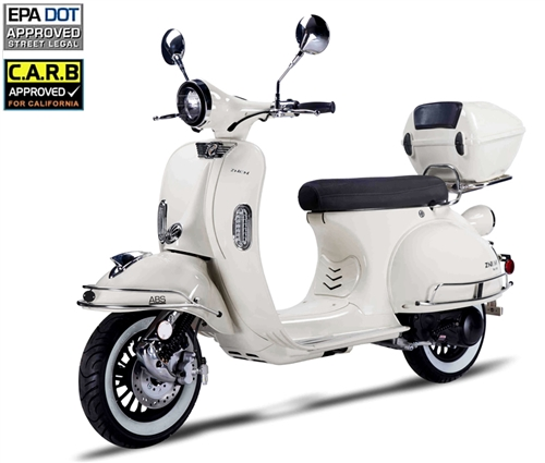 2018 ZNEN 150cc Scooter VES 150 with Remote start, Anti-theft Security  Alarm, USB Port, White Wall Tires EPA/DOT/CARB (99 9% assembled)